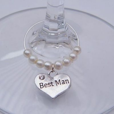 Best Man Wine Glass Charm - Beaded Style